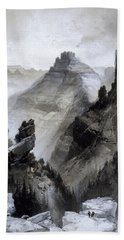 Hand Towel featuring the drawing The Grand Canyon Drawing            by Thomas Moran