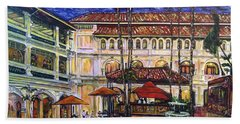 Bath Towel featuring the photograph The Grand Dame's Courtyard Cafe  by Belinda Low