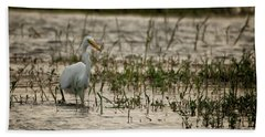 The Great Egret  Ardea Alba Syn  Casmerodius Albus  Bath Towel