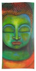 Hand Towel featuring the painting The Green Buddha by Prerna Poojara