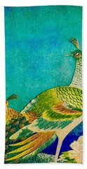 The Handsome Peacock - Kimono Series Hand Towel by Susan Maxwell Schmidt