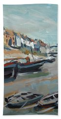 Bath Towel featuring the painting The Harbour Of Mevagissey by Nop Briex