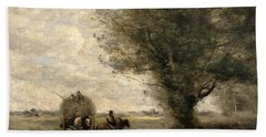 The Haycart Hand Towel by Jean Baptiste Camille Corot
