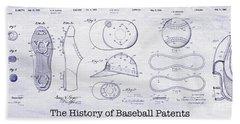 The History Of Baseball Patents Blueprint Hand Towel by Jon Neidert