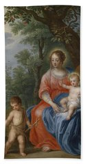 The Holy Family With John The Baptist And The Lamb Hand Towel