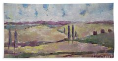 Bath Towel featuring the painting The Homeland by Becky Kim
