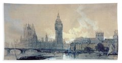 The Houses Of Parliament Hand Towel by David Roberts