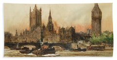 The Houses Of Parliament From The Thames Hand Towel
