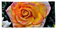 Bath Towel featuring the mixed media The Imperfect Rose by Glenn McCarthy