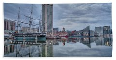 Bath Towel featuring the photograph The Inner Harbor On A Sunday Cloudy Morning by Mark Dodd