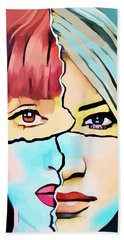 The Inner Struggle Split Personality Abstract Bath Towel
