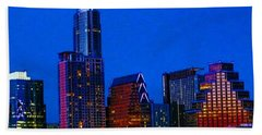 The #instaawesome #austin #skyline On A Bath Towel by Austin Tuxedo Cat