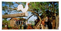 Hand Towel featuring the photograph The Iron Chicken by Linda Unger