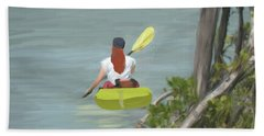 Bath Towel featuring the painting The Kayaker by Rosalie Scanlon