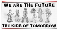 Bath Towel featuring the drawing The Kids Of Tomorrow 2 by Shawn Dall