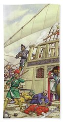 The Knights Of St John Seized Turkey's Finest Galleon, The Sultana Hand Towel by Pat Nicolle