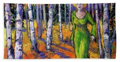The Lady Of The Aspen Trees Modern Impressionism Palette Knife Painting Bath Towel