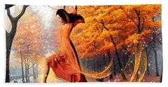 The Last Dance Of Autumn - Fantasy Art  Bath Towel