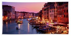 The Blue Hour From The Rialto Bridge In Venice, Italy Hand Towel