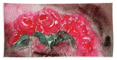 The Last Red Roses Hand Towel by Jasna Dragun