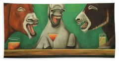 Bath Towel featuring the painting The Laughing Donkeys by Leah Saulnier The Painting Maniac