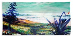 Bath Towel featuring the painting The Lawn Pandanus by Winsome Gunning