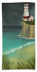 The Lighthouse On The Cliff Hand Towel