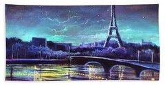 The Lights Of Paris Bath Towel by Randy Burns