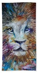 Bath Towel featuring the painting The Lion by Deborah Nell