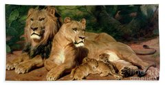 The Lions At Home Hand Towel by Rosa Bonheur