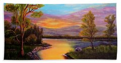 The Liquid Fire Of A Painted Golden Sunset Bath Towel by Kimberlee Baxter