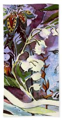 Bath Towel featuring the painting The Little Gardener by Mindy Newman