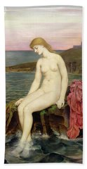 The Little Sea Maid  Hand Towel by Evelyn De Morgan