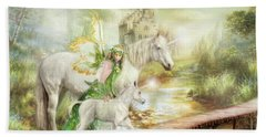 Hand Towel featuring the digital art  The Littlest Unicorn by Trudi Simmonds