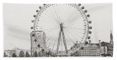 The London Eye Hand Towel by Vincent Alexander Booth