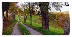 The Long Road In Autumn Bath Towel by Mike Murdock