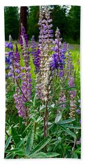 The Lupine Crowd Hand Towel by Jennifer Lake