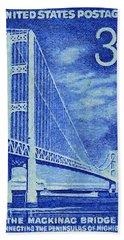 The Mackinac Bridge Stamp Hand Towel by Lanjee Chee