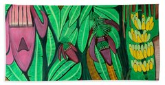 Hand Towel featuring the painting The Magic Of Banana Blossoms by Lorna Maza