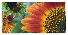 Hand Towel featuring the photograph The Magic Sunflower Pollen by Dorothy Maier