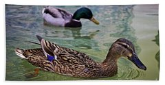 Hand Towel featuring the photograph The Mallard Pair by Mary Machare