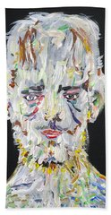 Bath Towel featuring the painting The Man Who Tried To Become A Mountain by Fabrizio Cassetta