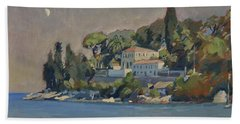 Bath Towel featuring the painting The Mansion House Paxos by Nop Briex