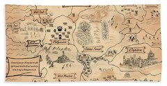 The Map Of The Enchanted Kira Bath Towel by Reynold Jay
