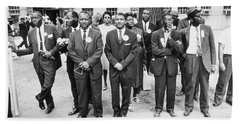 The March On Washington  Federal Aviation Agency Workers Watch The Marchers On Constitution Avenue Bath Towel