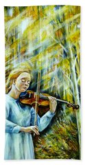 The Melody Of Autumn Hand Towel by Anna Duyunova