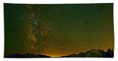 The Milky Way And Mt. Rainier Bath Towel