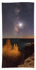 The Milky Way And The Moon From Marlboro Point Hand Towel
