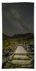 The Milky Way Over Snowdonia, North Wales Bath Towel