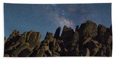 The Milky Way Over The Rocks Bath Towel